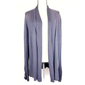 LOFT Sparkly Gray Cinch Sleeve Cardigan